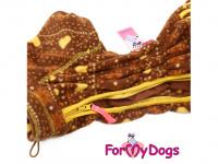 Obleček pro psy – lehoučký overal ForMyDogs BROWN FLEECE z vysoce kvalitního flísu. Zvýšený límec, zapínání na zip na zádech, vhodný i pro domácí nošení. (6)