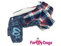 Obleček pro psy – sinteponem zateplený zimní overal CAGE BLUE od ForMyDogs. Kožešinová podšívka, vylepšené zapínání na zádech. (2)