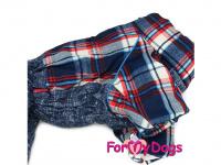 Obleček pro psy – sinteponem zateplený zimní overal CAGE BLUE od ForMyDogs. Kožešinová podšívka, vylepšené zapínání na zádech. (4)