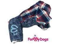 Obleček pro psy – sinteponem zateplený zimní overal CAGE BLUE od ForMyDogs. Kožešinová podšívka, vylepšené zapínání na zádech.