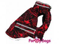 Obleček pro psy i fenky jezevčíků od FMD – zimní bunda CAPARISON RED z voduodpuzujícího materiálu. Bunda je zateplená sinteponem a má kožešinovou podšívku. (3)