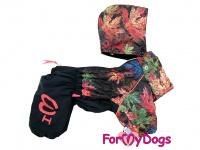 Obleček pro psy – zateplený zimní overal COLOURFUL LEAVES od ForMyDogs. Vylepšené zapínání na zádech, odnímatelná kapuce, flísová podšívka. (3)