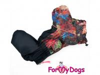 Obleček pro psy – zateplený zimní overal COLOURFUL LEAVES od ForMyDogs. Vylepšené zapínání na zádech, odnímatelná kapuce, flísová podšívka. (4)