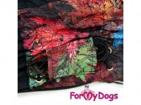 Obleček pro psy – zateplený zimní overal COLOURFUL LEAVES od ForMyDogs. Vylepšené zapínání na zádech, odnímatelná kapuce, flísová podšívka. (5)