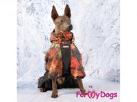 Obleček pro psy – zateplený zimní overal COLOURFUL LEAVES od ForMyDogs. Vylepšené zapínání na zádech, odnímatelná kapuce, flísová podšívka. (11)