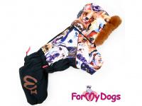 Obleček pro psy – sinteponem zateplený zimní overal DOGS od ForMyDogs. Vylepšené zapínání na zádech, odnímatelná kapuce, plyšová podšívka. (2)