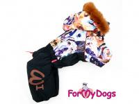 Obleček pro psy – sinteponem zateplený zimní overal DOGS od ForMyDogs. Vylepšené zapínání na zádech, odnímatelná kapuce, plyšová podšívka.