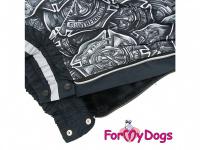 Obleček pro psy středních a větších plemen – zimní overal FIRE DEPT od ForMyDogs z voduodpudivého materiálu. Zapínání na zip na zádech, plyšová podšívka. (2)