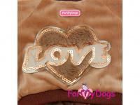 Obleček pro psy i fenky – teplý overal LOVE BROWN od ForMyDogs z měkoučkého materiálu. Zapínání na druky na bříšku, pružné lemy. (3)