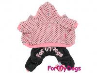 Obleček pro psy i fenky – teplejší overal PINK DOTS od ForMyDogs z měkké pleteninové látky. Zapínání na druky na bříšku, pružné lemy, kapuce. (3)