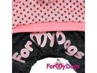 Obleček pro psy i fenky – teplejší overal PINK DOTS od ForMyDogs z měkké pleteninové látky. Zapínání na druky na bříšku, pružné lemy, kapuce. (4)
