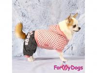 Obleček pro psy i fenky – teplejší overal PINK DOTS od ForMyDogs z měkké pleteninové látky. Zapínání na druky na bříšku, pružné lemy, kapuce. (5)