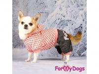 Obleček pro psy i fenky – teplejší overal PINK DOTS od ForMyDogs z měkké pleteninové látky. Zapínání na druky na bříšku, pružné lemy, kapuce. (6)