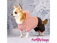 Obleček pro psy i fenky – teplejší overal PINK DOTS od ForMyDogs z měkké pleteninové látky. Zapínání na druky na bříšku, pružné lemy, kapuce. (7)