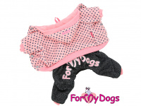 Obleček pro psy i fenky – teplejší overal PINK DOTS od ForMyDogs z měkké pleteninové látky. Zapínání na druky na bříšku, pružné lemy, kapuce.