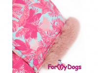 Obleček pro fenky – růžový, sinteponem zateplený zimní overal PINK od ForMyDogs. Vylepšené zapínání na zádech, odnímatelná kapuce. (5)