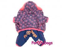 Obleček pro fenky – zimní overal PINK FIREWORKS od For My Dogs z voduodpuzujícího materiálu. Plyšová podšívka, zateplený sinteponem. (3)