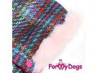 Obleček pro fenky – sinteponem zateplený zimní overal PINK KNITTED od ForMyDogs. Vylepšené zapínání na zádech, odnímatelná kapuce, hedvábná podšívka. (2)