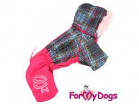 Obleček pro fenky – sinteponem zateplený zimní overal PINK KNITTED od ForMyDogs. Vylepšené zapínání na zádech, odnímatelná kapuce, hedvábná podšívka. (3)