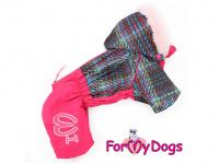 Obleček pro fenky – sinteponem zateplený zimní overal PINK KNITTED od ForMyDogs. Vylepšené zapínání na zádech, odnímatelná kapuce, hedvábná podšívka.