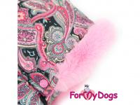 Obleček pro fenky – sinteponem zateplený zimní overal PINK ORIENT od ForMyDogs. Vylepšené zapínání na zádech, odnímatelná kapuce, kožešinová podšívka. (5)