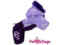 Obleček pro fenky – fialový, sinteponem zateplený zimní overal PURPLE DOTS od ForMyDogs. Hedvábná podšívka, barva fialová. (3)