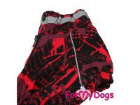 Obleček pro fenky jezevčíků – teplý zimní overal RED od ForMyDogs z voduodpudivého materiálu. Zapínání na zádech, plyšová podšívka. (3)