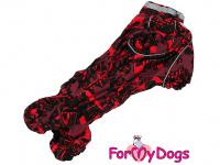 Obleček pro fenky jezevčíků – teplý zimní overal RED od ForMyDogs z voduodpudivého materiálu. Zapínání na zádech, plyšová podšívka. (4)