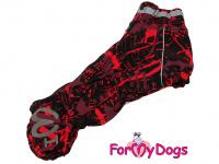 Obleček pro fenky jezevčíků – teplý zimní overal RED od ForMyDogs z voduodpudivého materiálu. Zapínání na zádech, plyšová podšívka.