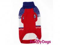 Obleček pro psy i fenky – stylový a teplý svetr REINDEER RED/BLUE od ForMyDogs. Materiál 100% akryl, zdobený severským zimním vzorem. (2)
