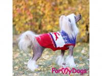 Obleček pro psy i fenky – stylový a teplý svetr REINDEER RED/BLUE od ForMyDogs. Materiál 100% akryl, zdobený severským zimním vzorem. (6)