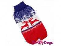 Obleček pro psy i fenky – stylový a teplý svetr REINDEER RED/BLUE od ForMyDogs. Materiál 100% akryl, zdobený severským zimním vzorem.