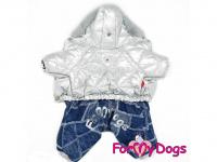 Obleček pro psy – teplý zimní overal SILVER BLUE od For My Dogs z voduodpuzujícího materiálu. Kožešinová podšívka, zateplený sinteponem. (2)