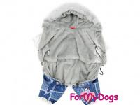 Obleček pro psy – teplý zimní overal SILVER BLUE od For My Dogs z voduodpuzujícího materiálu. Kožešinová podšívka, zateplený sinteponem. (3)
