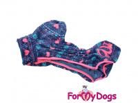 Obleček pro fenky – lehoučký overal ForMyDogs VIOLET FLEECE z vysoce kvalitního flísu. Barva růžovo-modrá. (4)