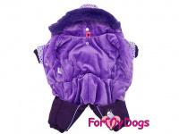 Obleček pro fenky – zimní overal VIOLET PURPLE od For My Dogs z voduodpuzujícího materiálu. Plyšová podšívka, barva fialová. (2)