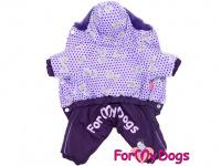 Obleček pro fenky – zimní overal VIOLET PURPLE od For My Dogs z voduodpuzujícího materiálu. Plyšová podšívka, barva fialová. (3)