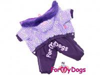 Obleček pro fenky – zimní overal VIOLET PURPLE od For My Dogs z voduodpuzujícího materiálu. Plyšová podšívka, barva fialová.