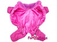 Obleček pro fenky – teplý zimní overal WAVES od ForMyDogs z voduodpuzujícího materiálu s plyšovou podšívkou. Barva růžová. (3)