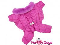 Obleček pro fenky – teplý zimní overal WAVES od ForMyDogs z voduodpuzujícího materiálu s plyšovou podšívkou. Barva růžová.