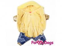 Obleček pro fenky – teplý zimní overal GOLD BLUE od For My Dogs z voduodpuzujícího materiálu. Kožešinová podšívka, zateplený sinteponem. (2)