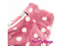 Obleček pro fenky – lehoučký overal ForMyDogs PINK z jednovrstvého plyše. Zvýšený límec, zapínání na zip na zádech, vhodný i pro domácí nošení. (2)