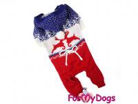 Obleček pro psy i fenky – pletený overal ForMyDogs RED REINDEER ze 100% akrylu pro ochranu před chladnějším suchým počasím.