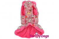 Obleček pro fenky od FMD – teplý zimní kabát ANIMATED z voduodpuzujícího materiálu. Kabát je zateplený sinteponem a umělou vzorovanou kožešinkou, barva růžová. (3)