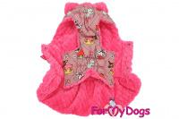 Obleček pro fenky od FMD – teplý zimní kabát ANIMATED z voduodpuzujícího materiálu. Kabát je zateplený sinteponem a umělou vzorovanou kožešinkou, barva růžová. (5)