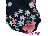 Obleček pro fenky malých až středních plemen – komfortní a funkční pláštěnka FLOWERS BLUE od For My Dogs. Zapínání na zip na zádech, hedvábná podšívka, reflexní prvky. (4)