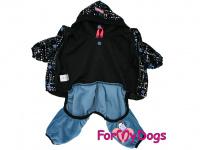 Obleček pro psy i fenky – lehoučký velurový overal s kapucí BLUE TONES od ForMyDogs. Vhodný i do suchého chladnějšího počasí nebo pro domácí nošení. (2)