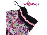 Obleček pro fenky malých až středních plemen – komfortní a funkční pláštěnka COLOR FLOWERS od For My Dogs. Zapínání na zip na zádech, hedvábná podšívka, reflexní prvky. (4)