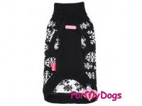 Svetr pro psy i fenky FMD – BLACK SNOWFLAKE, barva černo-bílá (2)