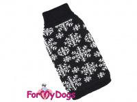 Svetr pro psy i fenky FMD – BLACK SNOWFLAKE, barva černo-bílá